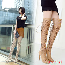 Sexy Women Hollow Long sandals Summer Over Knee High Boots Shoes Sandal Stiletto
