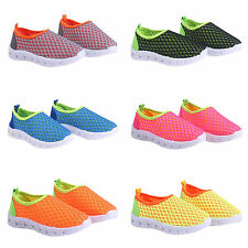 Boys Girls Kid Mesh Trainers Flat Slip-On Sneakers Breathable Sport Casual Shoes