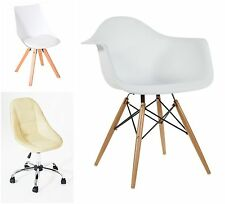 New White/Cream Modern Style Eiffel Arm Chair Furniture Dining Lounge Cushioned