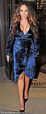 $3600 New GUCCI RUNWAY Navy Blue V neck Wrap Leopard Velvet Dress 40