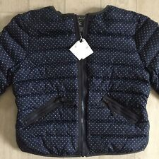 BONPOINT COUTURE BABY GIRL6 ansy PUFFA DOWN JACKET BLUE COAT WHITE DOTS NWT