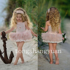 Ruffles Applique Flower Girl Dresses Princess Birthday Formal Prom Gowns Pageant