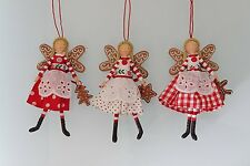 Gisela Graham Christmas Fairy Angel Nordic Scandi Resin Fabric Tree Decoration
