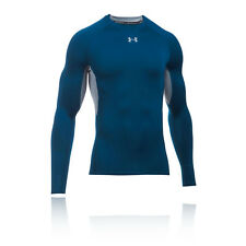 Under Armour HeatGear Mens Blue Compression Long Sleeve Crew Neck Sports Top