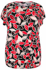 Plus Size Womens Style Steal & Red Leaf Print Jersey Top With Bubble Hem