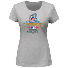 Women's Chicago Cubs Majestic Gray 2016 World Series Champions Locker Room T-Shi