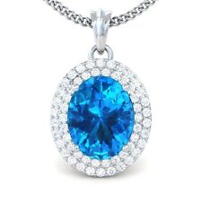 Blue Topaz FG SI Fine Diamonds Oval Gemstone Pendant Women 14K White Gold