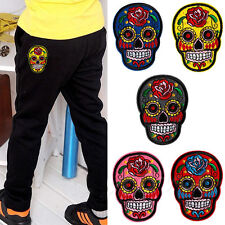 2Pcs DIY Embroidered Cloth Iron On Patch Sew Motif Applique skull Crafts BUAU