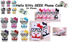 Hello Kitty 3D GEEK Cartoon Case Cover For IPHONE 4 5 C 6 Smart Phone & Androids