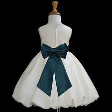 IVORY TAFFETA WEDDING COMMUNION BAPTISM FLOWER GIRL DRESS 12-18M 2 3T 4 5 6 8 10