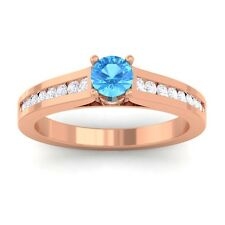 Blue Topaz GH VS Round Diamond Women Gemstone Wedding Ring 10K Rose Gold