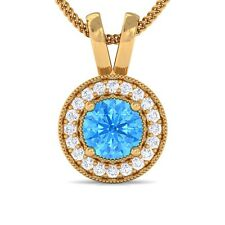 Blue Topaz GH VS Diamond Round Halo Gemstone Pendant Women 10K Yellow Gold