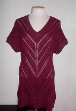 MAURICES SIZE LARGE WINE RED V-NECKLINE DOLMAN SLEEVE LUREX  TUNIC SWEATER