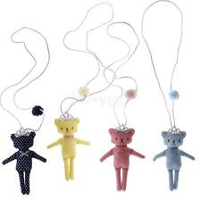 Girls Kids Lovely Cute Dots Bear with Crown Pendant Sweater Necklace Chain Gifts