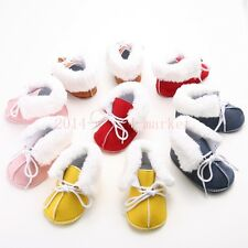 Cute fur Baby Boy Girl Newborn Winter Warm laces Boots Toddler Infant Shoes #547