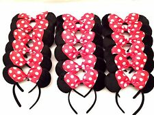 MICKEY MINNIE MOUSE EARS HEADBANDS BLACK RED BOW PARTY FAVORS COSTUME