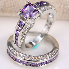 Natural 2.5ct Amethyst 925 Silver Ring Set 2pcs Wedding Engagement Prom Size6-12