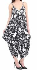Ladies Printed Legen Look Strappy Cami Jumpsuit Women Baggy One Size Casual Wear