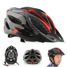 Cycling Bicycle Adult Mens Bike Helmet Red carbon color With Visor Mountain Q2