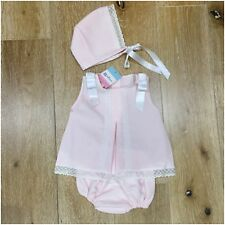 Girls Spanish pink and white Jam pants set with matching bonnet