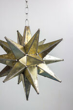 GOLD Moravian Star Lamp Antique Stained Spotted Glass Light Pendant Handmade 18p