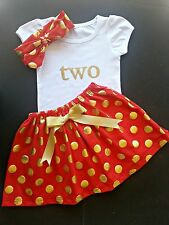 Second Birthday Outfit, TWO gold glitter shirt, polka dot skirt headband set
