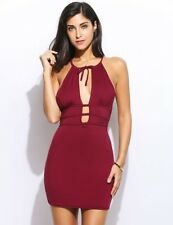 Dress fiesta cocktail Burgundy Bodycon Backless Bandage Pencil Party Dress