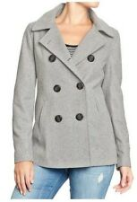 NWT OLD NAVY WOMENS L CLASSIC WOOL BLEND PEACOAT PEA COAT JACKET HEATHER GRAY