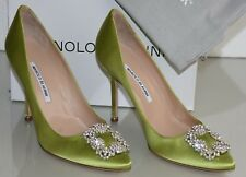 $965 NEW MANOLO BLAHNIK HANGISI Apple GREEN Satin JEWELED Pumps SHOES 40 41 41.5