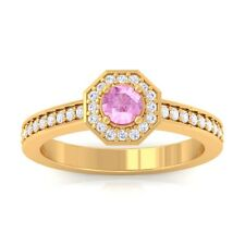 Pink Sapphire FG SI Gemstone Diamond Engagement Ring Women 18K Gold