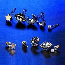 5in1 Fashion Lucky Womens Planet 18k Gold Plated Clip on Ear Cuff Stud Earrings