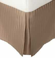 1 QTY Bed Skirt Valance Egyptian Cotton 1000 TC 1 Inch Drop Taupe Stripe