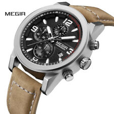 Megir Men Chronograph Waterproof Wristwatch Large Dial Leather Band Quartz Watch