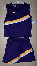 Toddler Girl NCAA Cheerleading Uniform Costume Game LSU Miami FSU aTm Tigers