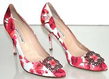$965 NEW MANOLO BLAHNIK HANGISI 105 Floral Satin JEWELED Red FABRIC SHOES 42