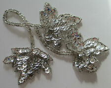 Vintage Hand Beaded Applique Leaves Clear Glass Seed Beads Sequins 1930-60's?