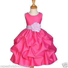 FUCHSIA PINK FLOWER GIRL DRESS HOLIDAY PAGEANT PARTY GOWN JUNIOR 6-9M 2 4 6 8 10