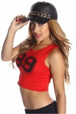 121AVENUE Sexy 99 Loose Fit Crop Top S M L Small Medium Large Women Red Casual