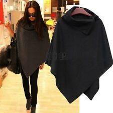 Funky Women's Cape Black Gray Batwing Wool Poncho Jacket Winter Warm Cloak Coat