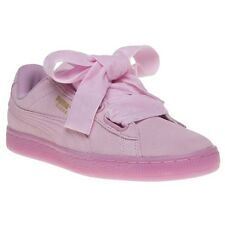 New Womens Puma Pink Suede Heart Reset Trainers Court Lace Up