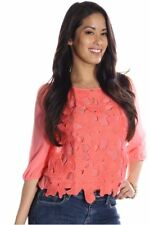 121AVENUE Gorgeous Flower Lace Top S Small Women Pink Evening, Occasion
