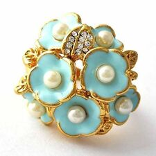 wholesale Fashion jewelry Gold Plated Pearl Womens Flower Ring lots Size 7 8 9