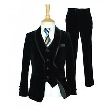 Boys Italian Black Velvet Suit In 3PC and 5PC Pageboy Wedding Occassion Suit