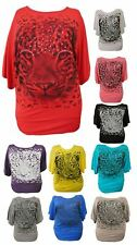 WOMENS PLUS SIZE SEQUIN TIGER PRINT BAGGY BATWING TOPS TUNIC SLOUCH DRESS14-28