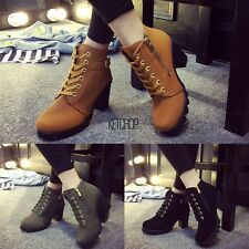 Fashion Women Lace Up Platform Block High Heel Ankle Boot Size 35-40 KECP1