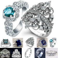 925 Silver Ring White Topaz Aquamarine Gemstone Wedding Engagement Size 6-10