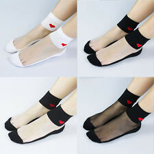 New Fashion Ultra-Thin Love Cotton Bottom Socks Short Section Of Glass Stockings