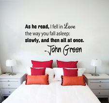 Wall Decal Quote About Love As he read I fell in Love Phrase Home Decor NS77