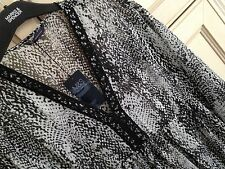 M&S SIZE 16 BLACK WHITE SEMI SHEER KAFTAN STYLE TOP BEACH COVER UP FREE POSTAGE