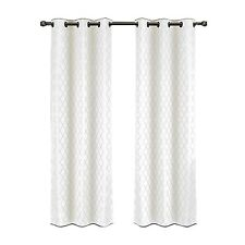 Willow Set of Two White Panels, Jacquard Blackout Thermal Insulated Curtains